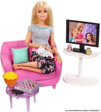 Barbie Indoor Furniture Playset Living Room Includes Kitten Furniture Couch