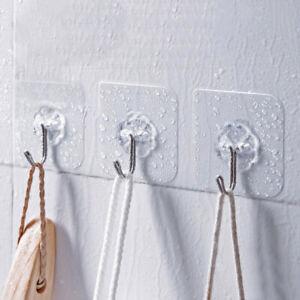 3 Pcs Strong Transparent Suction Cup Sucker Wall Hooks Hanger Kitchen Bathroom