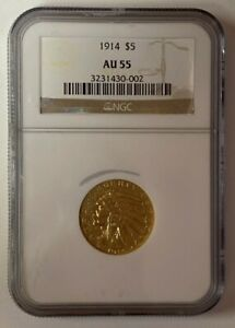 1914 $5 Indian Head Gold Half Eagle AU 55 NGC GOLD COIN