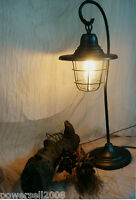 Vintage Style Black Iron+Glass Height 68CM Creative Bedroom Bedside Table Lamp
