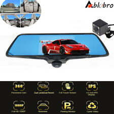 "5.0"" Dash Cam 360° Panoramic Car DVR Camera 1080P Video Recorder Rearview Mirror"