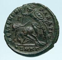 CONSTANTIUS II Authentic Ancient GLADIATOR Style BATTLE SCENE Roman Coin i83511