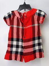 Burberry Children Girls Dalton Military Red Check Dress Short Sleeve  12m