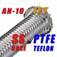 """-10 AN10 (1/2"""") 12.95mm Braided Stainless Steel PTFE  Fuel Line Hose 1FT"""