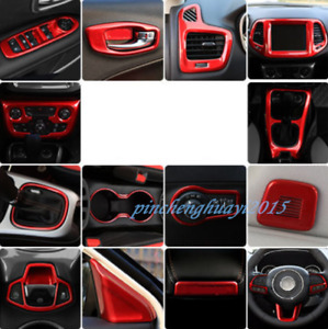 25PCS Red ABS Car Interior Kit Cover Trim For Jeep Compass 2017-2019