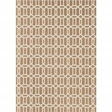Ruggable 2-pc Washable Rug System: 5 Ft x 7 Ft Tan/White Modern Fretwork