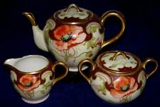Willets Belleek HP Art Nouveau Poppy Teapot Set Artist Signed Pickard Era