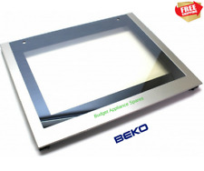 Main Oven Bottom Outer Door Glass in Silver For Beko BDVC674MS Cooker