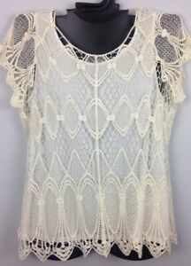 2X Dressbarn Woman IVORY Shell and Crochet Lace Cover Shirt Top NWOT