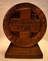 1st National Bank Seattle 1870 Bank Bronze Metal Colored no key over 4 in tall