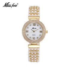 Luxury Women Jewelry Pearls Bracelet Watches Fashion Dress Quartz Wristwatch