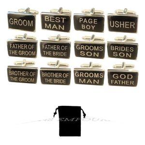 Black Silver mens wedding cufflinks cuff link Groom best man usher page gift