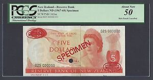 New Zealand Five Dollars 1967-68 P165as Specimen TDLR About Uncirculated