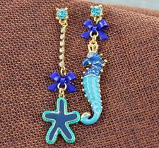 Beautiful Betsey Johnson Lovely blue Sea star seahorse bow earrings N375