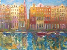 Amsterdam cityscape,original oil painting,by artist,colorful,art,decor