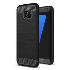 Samsung Galaxy S7 Carbon Hülle Silikon Schutz Hülle Cover Tasche Case Schwarz