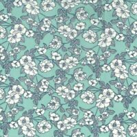 Mint Green Floral Fabric Rose & Hubble 100% cotton fabric Metre or 1/2 Metre