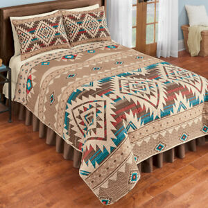Southwest Geometric Red, Turquoise & Brown Native Aztec Twin Quilt & Sham