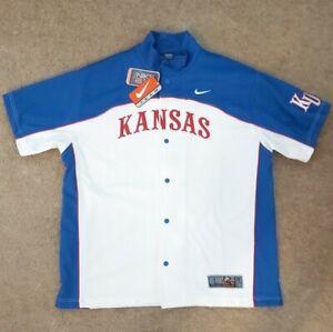 Vintage Nike Elite Kansas Jayhawks NCAA Warm Up Snap Shooting Shirt Men's Large