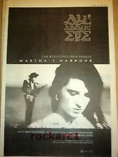 """ALL ABOUT EVE Martha's Harbour 1988  UK Poster size Press ADVERT 16x12"""""""