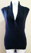Lacoste Blue Wool V-Neck Sleeveless w/ Front Pockets Knit Sweater Size 36