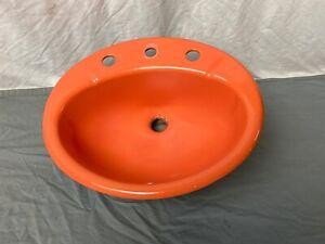 Vtg Oval Cast Iron Burnt Orange Oval Drop in Bath Sink Old Retro 356-21E