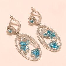 Silver Chandelier Earring Fine Jewlry Natural Swiss Blue Topaz Gemstone Sterling