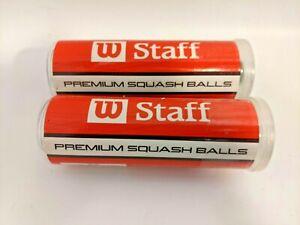 2 New Sealed Tubes Wilson Staff Premium Squash Balls