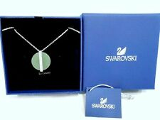 Natural Stone Clear Crystal 5155628 Swarovski Disk Medium Pendant, Green color
