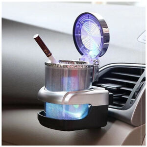 Portable Car Ashtray w/LED Light Cigarette Container Gas Bottle Smoke Cup Holder