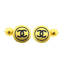 Chanel cuffs COCO Gold Black Woman Authentic Used A1237