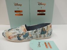 TOMS WOMENS CLASSIC BLUE CINDERELLA PRINTED CANVAS SIZE 8.5