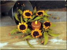 NEW!! Beautiful Festive Autumn Colorful Small Votive SUNFLOWER Candle Ring