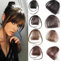 Women Thin Neat Air Bangs Human Hair Extensions Clips In Fringe Front Hair Piece