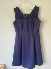 Jacques Vert petite 12 navy fit & flare shift dress jewel wedding occassion