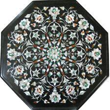 "18""x18"" Handmade Black Marble Inlay Work Table Top Design"