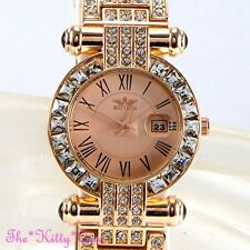 Rose Gold Bling Statement Ladies Classic Date Dress Watch w/ Swarovski Crystals