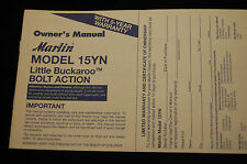 Marlin Model 15YN Little Buckaroo Bolt Action Owners Manual