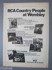 R&L Ex-Mag Advert: RCA Hank Snow, Dottie West, Mac Wiseman, Country Music People