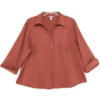 Dressbarn Woman Textured Career Blouse Womens 22W 24W V Neck 3/4 Sleeve Orange