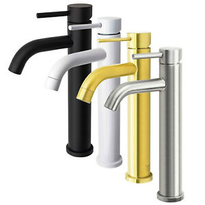 Round Tall Basin Mixer Tap Sink Vanity High Rise Faucet Chrome/Black/Gold/White