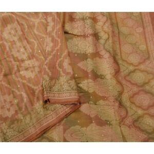 Tcw  Vintage Sarees 100% Pure Silk Woven Brown 5 Yd Fabric Craft Sari