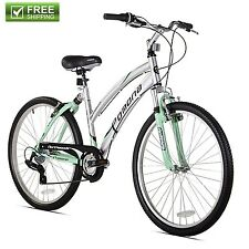 "BEACH CRUISER BIKE WOMEN'S 26"" DUAL SUSPENSION Silver Hybrid Bicycle Shimano NEW"
