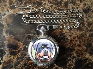 ROTTWEILER CHROME POCKET WATCH WITH CHAIN (NEW)