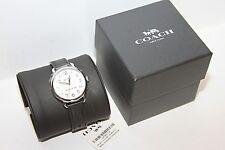 COACH 14502714 Delancey White Dial Black Leather Strap Women's Watch 36mm NWT
