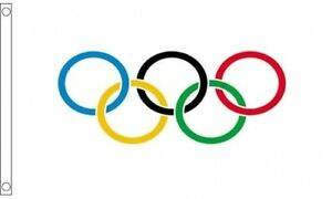 Olympic Ring Flag 5'x3' Winter Summer Olympics Display Banner - 2 Metal Eyelets