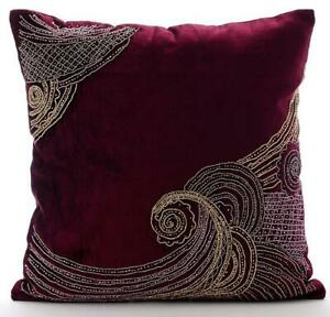 Pillow Cover 16x16 inch Decorative Purple, Velvet Zardozi - Zardozi Waves