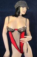 Straps String Body, Rot / Schwarz, Stringbody mit Tüll uns Strapshalter, Gr L-XL