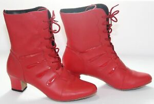"""Dancing Dolls Heeled Boot Womens Red Leather 2""""Cuban Heel Bootie Shoes Size 7.5M"""