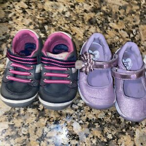 Stride rite Lot Of 2 purple sparky girls mary jane Blue Pink shoes size 4.5M